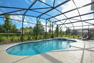 Pool and deck area with loungers