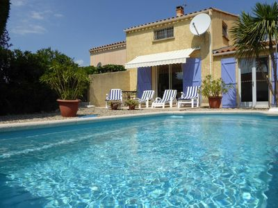 Photo for Lovely and comfortable villa in Marseillan Plage, Languedoc-Roussillon, France  with private pool for 6 persons