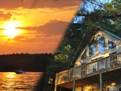 Photo for New WALLENPAUPACK LAKEFRONT Chalet W Dock/AC - Great Sunsets, Private Setting