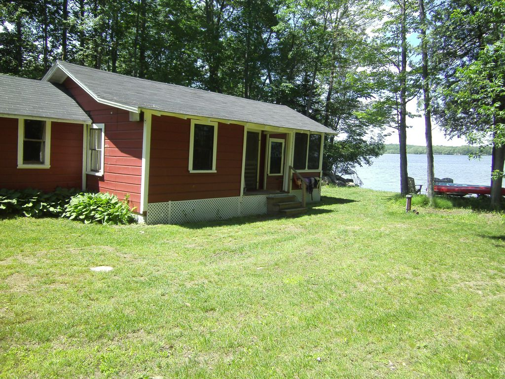 cabin at outdoor rentals the luxury enjoy your private lakefront cottage rental stay maine with in chesterville log