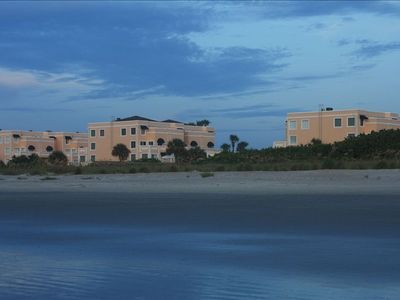 Our stunning condo complex as viewed from the Cape Canaveral beach