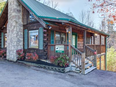 Photo for Romantic cabin for 2 w/private hot tub, shared seasonal pool!