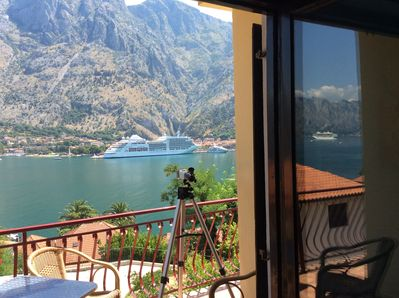 Special views of the mountains and Kotor from the living room.