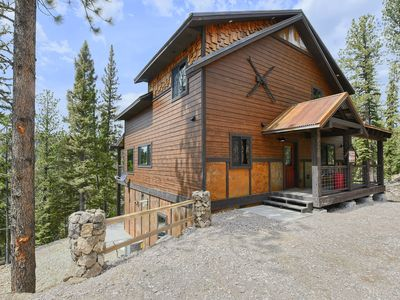 Photo for New Modern Rustic Hillside Cabin, Large Windows with Great Deck/Hot Tub View