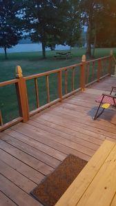 The deck, new and improved, but still a work in progress.  Great lake views.