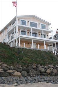 Side view of back of house from beach with private stairs