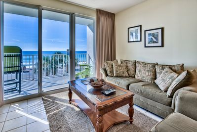 Amazing views of white sand beach and ocean from the living room.
