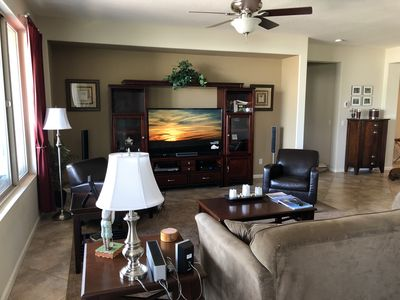 """Living Room with 60"""" HD Smart TV"""