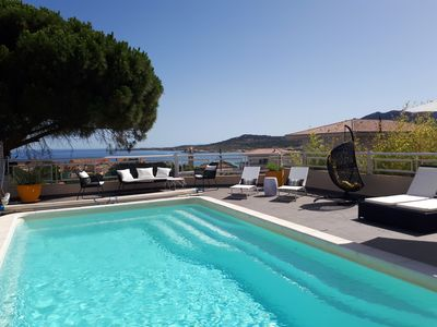 Photo for Quiet and comfortable flat with panoramic sea view, 300m from the beach