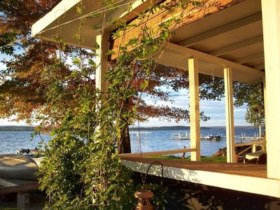 Photo for Charming lakefront cottage. Spectacular sunsets. Near Saratoga Racetrack