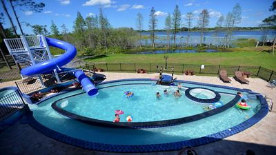 """The """"Go Fish"""" pool and multi speed lazy river, waterslides, and more!"""
