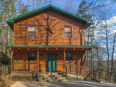 Photo for Dog-friendly cabin w/hot tub, pool table & two-level porch - close to Dollywood!
