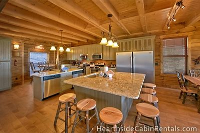 Open kitchen floorplan inside large Pigeon Forge cabin.