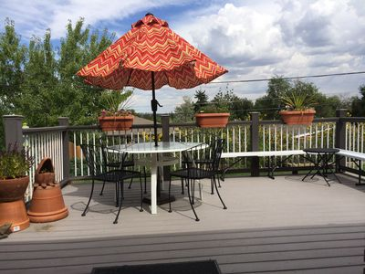 Deck is sunny in the morning and has plenty of shade in the afternoon.