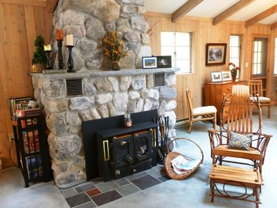 Fireplace with wood stove