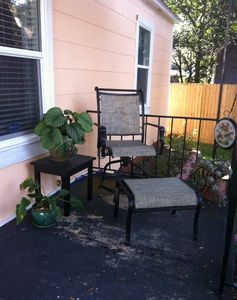 Covered Front Porch w Swivel Chair & Footrest