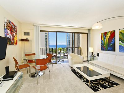 Partial Ocean and sunset views from this modern, high floor 1-bedroom condo!