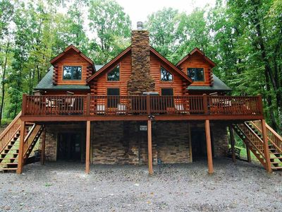 Lake area home with fire pit, game tables and fireplace!