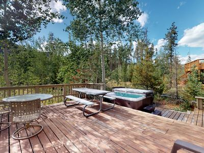 Photo for Dog friendly, family home w/ private hot tub, furnished deck, & gas fireplace
