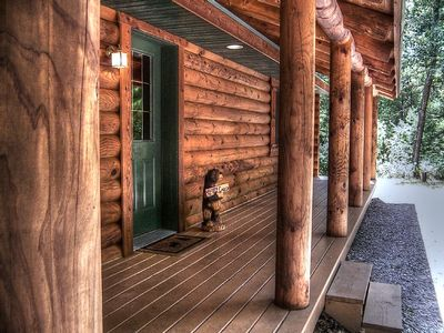 Rain or shine, this oversized covered porch is great for wilderness watchers