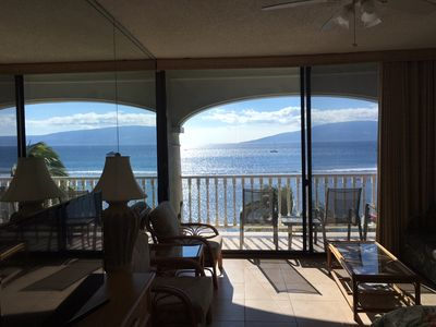 View from condo of Lanai , beach and ocean
