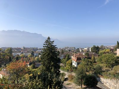 Photo for Magnificent view of the lake from villa Montreux area near train station