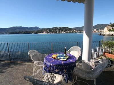 Photo for Rapallo elegant apartment by the sea with private access to the sea