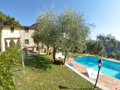 Photo for Private Villa with WIFI, private pool, TV, pets allowed, panoramic view, parking, close to Lucca