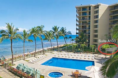 Unique location with easy beach and pool access makes Suite A103 our favorite two bedroom at the Ka'anapali Shores