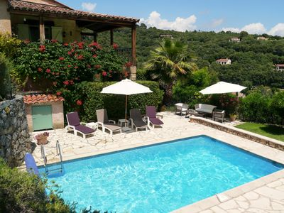 Photo for Hillside villa near Montauroux, private pool & magnificent views.