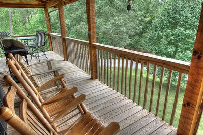 Breathe Taking Porch View From Bears Den in Pigeon Forge and Maples Ridge Cabin Rentals
