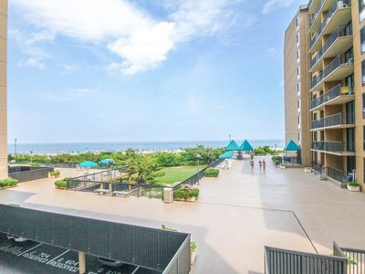 Photo for G201: Larger 2BR+den, 2BA Sea Colony oceanfront corner condo! Beach, pools ...