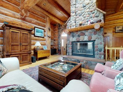 Photo for Spacious, authentic log cabin w/ views, shared pool & hot tub