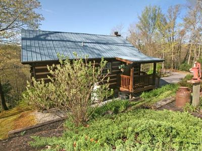 Photo for Beautiful Honeymoon Cabin with Hot Tub, Jacuzzi, Fireplace and View