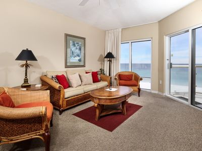 Photo for Gorgeous Gulf Front Condo! Sleeps 7, Free WiFi, Onsite Pools, Fitness Center, Dry Sauna!