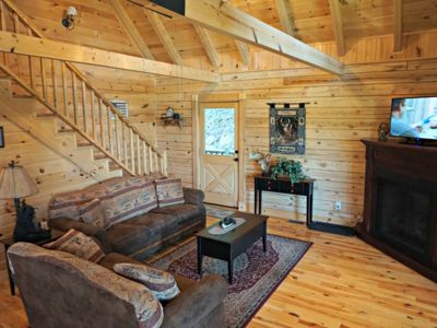 Photo for Custom Log Cabin, Pet Friendly, Views, Game Room, Near Blue Ridge Pkwy, WIFI, Gas fire pit