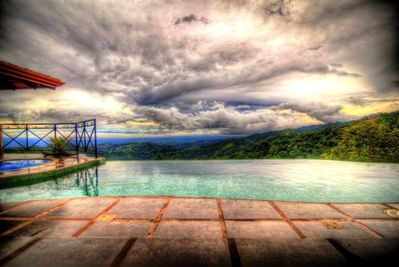 Nearly 360 degrees viewable from the mountaintop infinity pool...
