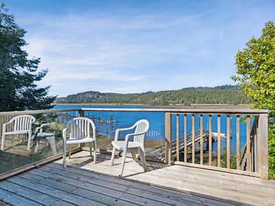 Photo for Waterfront cabin-style home with a private dock & furnished deck!