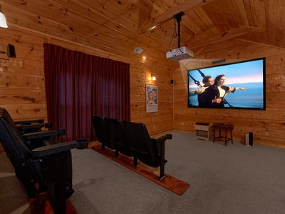 Photo for 5 bedroom Luxury Cabin with Home Theater Room, Pool Table and Air Hockey