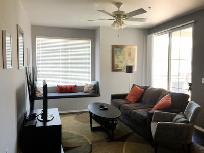 Living Room:Queen Memory Foam Pull-out Couch;42' Plasma HDTV;CeilingFan,Patio Dr