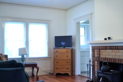 The living room as you walk in.  TV with Direct TV and DVD player.
