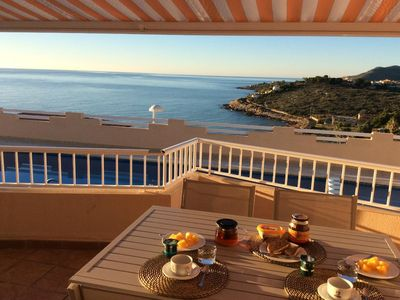 Photo for Luxury apartment, sea view terrace, private garage, swimming pool, air conditioning, wifi