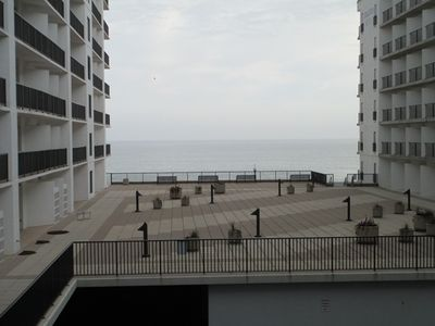 Photo for LINENS  INCLUDED*!. OCEANFRONT/BOARDWALK BUILDING /ROOFTOP POOL Light and lovely describe this charming unit decorated with brand new white leather sofa and armchair with floral accents