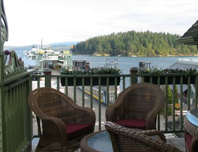 This private deck offers a view of the harbor.