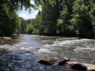 Photo for *Free Whitewater Rafting & Ziplining* Beautiful vacation cabin along the banks of Fightingtown Creek