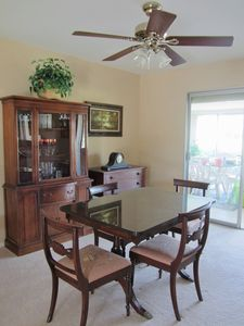 Dining room has antique furnishings