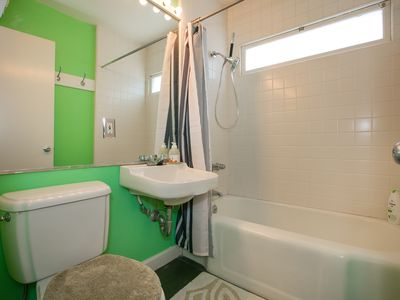 Bathroom - The colorful bathroom with shower/tub combo