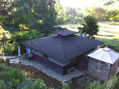 Looking south over cabin from Teahouse/Treehouse in mid summer