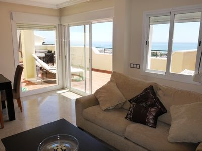 Photo for Stunning Penthouse Apartment Sea Views and Front Line to the Golf