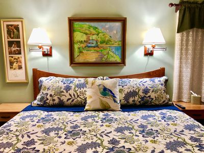 Bedroom with king bed. Our guests tell us this is the most comfortable bed ever.
